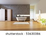 bathroom with modern style.3d... | Shutterstock . vector #53630386