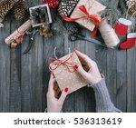 Girl Hands Holding Present For...