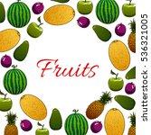 organic fruit poster. fresh... | Shutterstock .eps vector #536321005