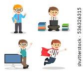 nerd office set illustration...   Shutterstock .eps vector #536326315