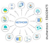 network icons in circle diagram ... | Shutterstock .eps vector #536328475