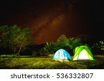 camp in forest at night with... | Shutterstock . vector #536332807