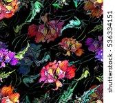 poppy watercolor seamless... | Shutterstock . vector #536334151