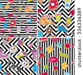 seamless patterns set with... | Shutterstock .eps vector #536336389