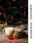 christmas cookies with milk | Shutterstock . vector #536344855
