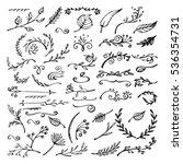 vector set of sketch decorative ... | Shutterstock .eps vector #536354731