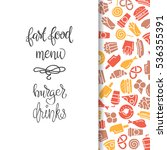 fast food menu. set of icons on ... | Shutterstock .eps vector #536355391