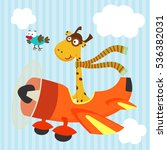 giraffe and bird on airplane    ... | Shutterstock .eps vector #536382031