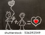 boy and girl on chalkboard.... | Shutterstock . vector #536392549