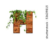 3d Letter With Brick Texture   H