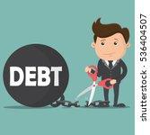 business man cutting debt... | Shutterstock .eps vector #536404507