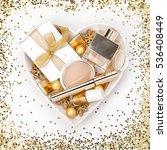 makeup cosmetics and golden... | Shutterstock . vector #536408449