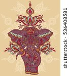 indian elephant with beautiful... | Shutterstock .eps vector #536408581