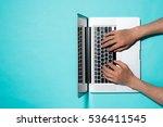 top view of businessman hands... | Shutterstock . vector #536411545