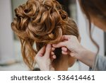 hairstylist makes the bride... | Shutterstock . vector #536414461