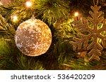 Christmas Ball And Golden Snow...