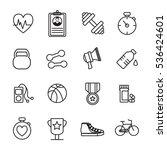vector icon set of fitness... | Shutterstock .eps vector #536424601
