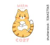 illustration of cute ginger cat ... | Shutterstock .eps vector #536427565