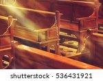 Wooden Church Pews In Church...