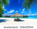 tropical beach in maldives... | Shutterstock . vector #536435944