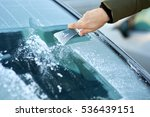 scraping ice off the windshield ... | Shutterstock . vector #536439151