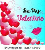 be my valentine 3 d hearts | Shutterstock .eps vector #536442499