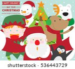 santa claus taking selfie with... | Shutterstock .eps vector #536443729