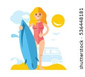 vector girl with surfing. flat... | Shutterstock .eps vector #536448181