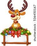 Cartoon Reindeer With Decorated ...
