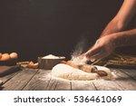 Men Hands Sprinkle A Dough Wit...