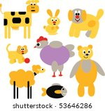 cute cartoon animals. vector | Shutterstock .eps vector #53646286