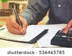 young businessman writing and... | Shutterstock . vector #536465785
