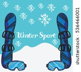 winter sport hand drawn poster | Shutterstock .eps vector #536466001