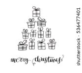 christmas tree made from gifts...   Shutterstock .eps vector #536477401