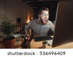 picture of angry web designer... | Shutterstock . vector #536496409