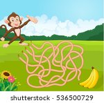 maze game for kids with monkey... | Shutterstock .eps vector #536500729