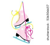 woman's ice skates hanging on... | Shutterstock .eps vector #536506657