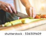 female's hands cut fresh...   Shutterstock . vector #536509609