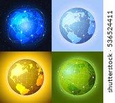 set of globes. raster version. | Shutterstock . vector #536524411