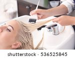 hairdresser putting mask on... | Shutterstock . vector #536525845