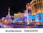 Stock photo las vega nevada march paris hotel and casino with colorful light and traffic march 53653594