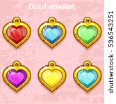 cartoon golden old amulets...