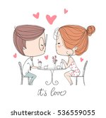 cute girl and boy in cafe.... | Shutterstock .eps vector #536559055
