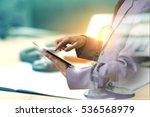 double exposure of businessman... | Shutterstock . vector #536568979
