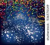 colored confetti with ribbons... | Shutterstock .eps vector #536570149