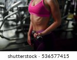 woman workout with dumbbell in... | Shutterstock . vector #536577415