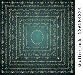 set of hand drawn golden glossy ... | Shutterstock .eps vector #536584324