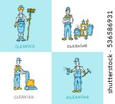 cleaning staff characters with...   Shutterstock .eps vector #536586931