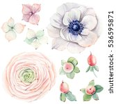 handpainted watercolor flowers... | Shutterstock . vector #536595871