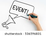 Small photo of Event. Megaphone and text on a white background